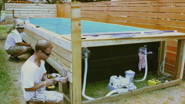 How to craft a gorgeous swimming pool out of a dumpster - Swimming pool electrical deck box ...