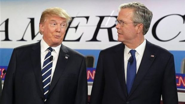 Donald Trump debating Jeb Bush; Source:CNN