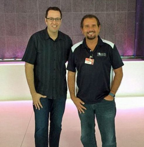 Fogle and former partner Russel Taylor, who was convicted of taking hidden camera images of underage girls and passing them on to Fogle. Source: Perez Hilton.