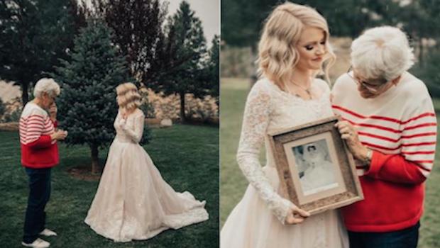 Bride Surprises Grandmother By Wearing Her Wedding Dress