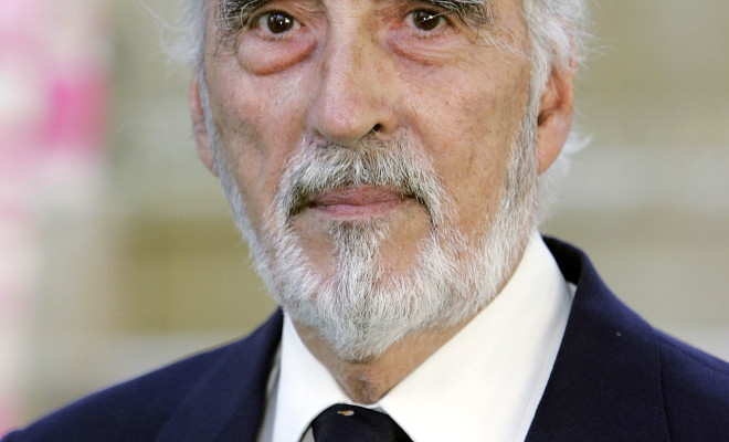 """LONDON - JULY 17:  (UK TABLOID NEWSPAPERS OUT) Actor Christopher Lee arrives at the UK Premiere of """"Charlie And The Chocolate Factory"""" at the Odeon Leicester Square on July 17, 2005 in London, England.  (Photo by Dave Hogan/Getty Images)"""